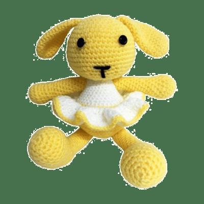 Lemon și este o iepurică de jucărie croșetată manual