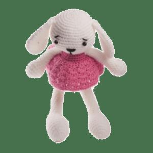 Iepurica Mara, culoare roz, jucărie croșetată manual
