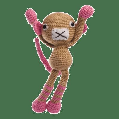 Maimuțica Chloe este o jucăria croșetată manual, foarte neastâmpărată