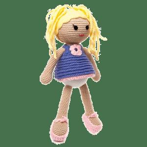 Maruca este o păpușa blondă croșetată manual
