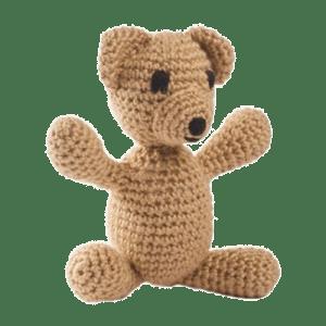 Ursulețul Manole, culoare bej, este o jucărie croșetată manual