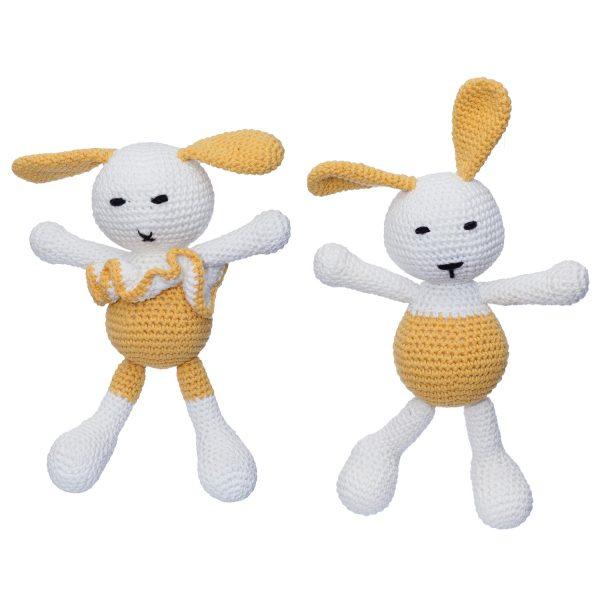 Iepurica Mara și iepurașul Dinu, culoare galben, jucării croșetate manual