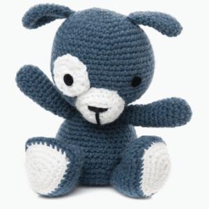 Cățelul Patrocle, culoare bleu, jucărie croșetată manual