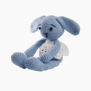Iepurica Lana, culoare bleu, este o jucărie croșetată manual
