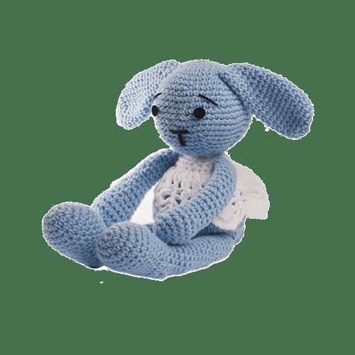 Iepurica Lana, Culoare Bleu, Jucărie Croșetată Manual