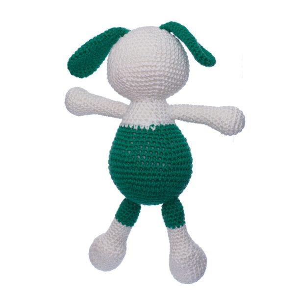 Iepurașul Dinu verde jucărie croșetată manual