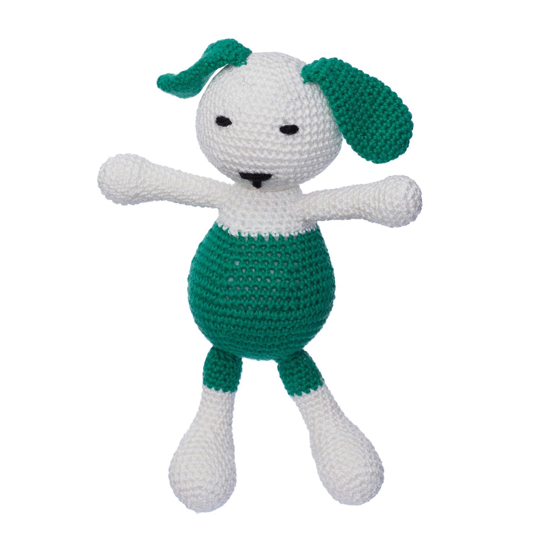 Iepurașul Dinu, Culoare Verde, Jucărie Croșetată Manual Din Bumbac 100%