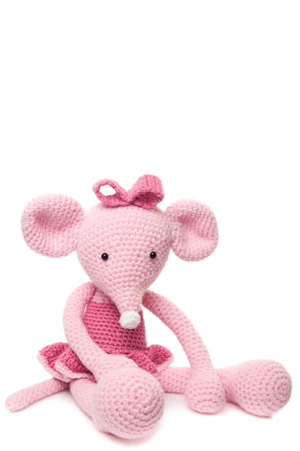 Șoricica Kate, balerina cu tutu roz, croșetată manual
